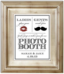 Photo Booth 8×10 Wedding Sign – Customized Photobooth Mustache Lips Ladies & Gents Personalized Typography Art Print