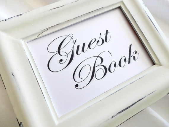 Wedding Guest Book Sign – White or Ivory