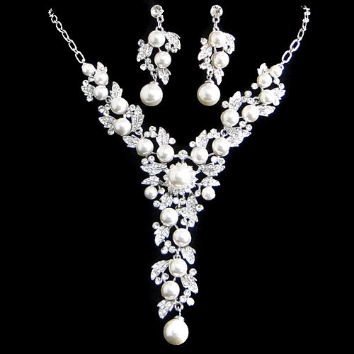 Swarovski Crystal Wedding Flower White/Ivory Pearl Jewelry set, Bridal Necklace