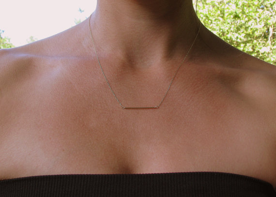 Minimal 14K Gold Bar Necklace, Thin Gold Bar, Tube, Simple, Subtle Dainty Gold Bar Necklace, Bridesmaids Gift, Delicate Chain, Straight