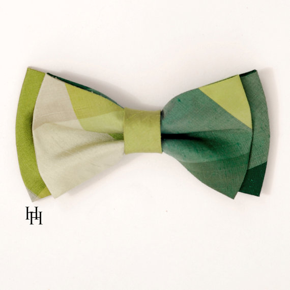 Silk Men's Bow Tie Green colorblock plaid