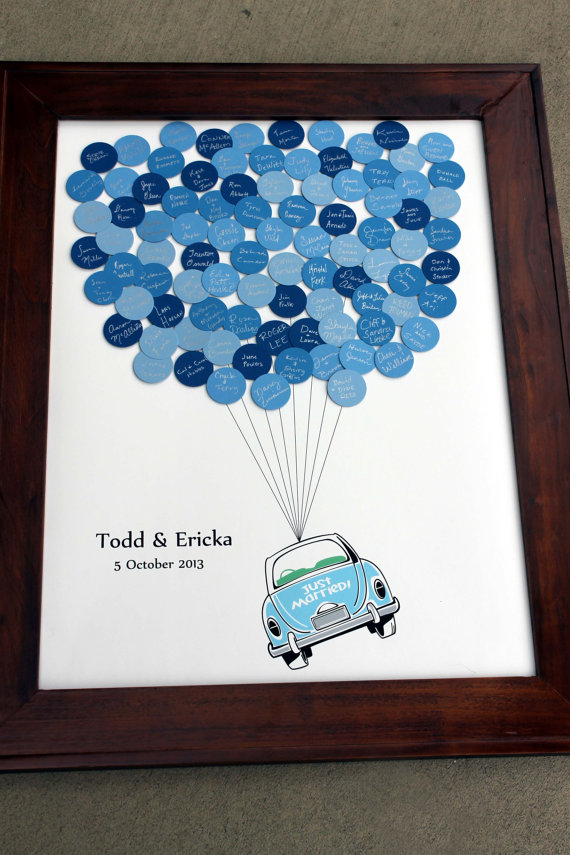 Wedding Guest Book Just Married Car Balloons for up to 300 Guests