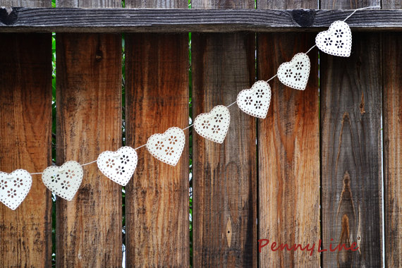 Wedding Garland Doily Hearts Garland Banner Sign Handmade, Wall, Table Decoration, Vintage Look – Ivory