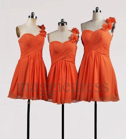 Custom Orange Short Bridesmaid Dresses 2014 Party Dresses Formal Prom Dress Evening Dresees Wedding Party Dress Homecoming Dresses