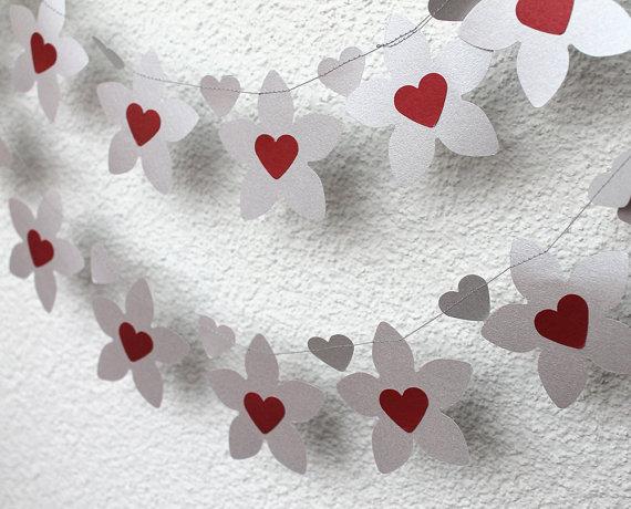 Silver Flower Garland,Wedding Decor, Wedding Garland, Bridal Shower Decor