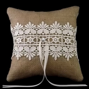 Guipure Lace on Burlap Wedding Ring Pillow