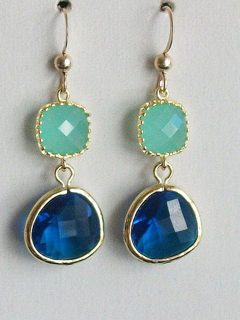 Mint Earrings, Royal Blue Earrings, Blue gold earrings