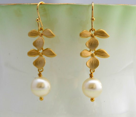 Gold Orchid with Pearl Drop Earrings, Dangle Earrings