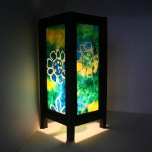 Aladin Blue Flower LATA-0069 Batic Art Lantern/Shade Table/Bedside Wood Frame Lamp/Home Decor/GIfts/Night Light/Wedding/Bedside/Spa Lighting
