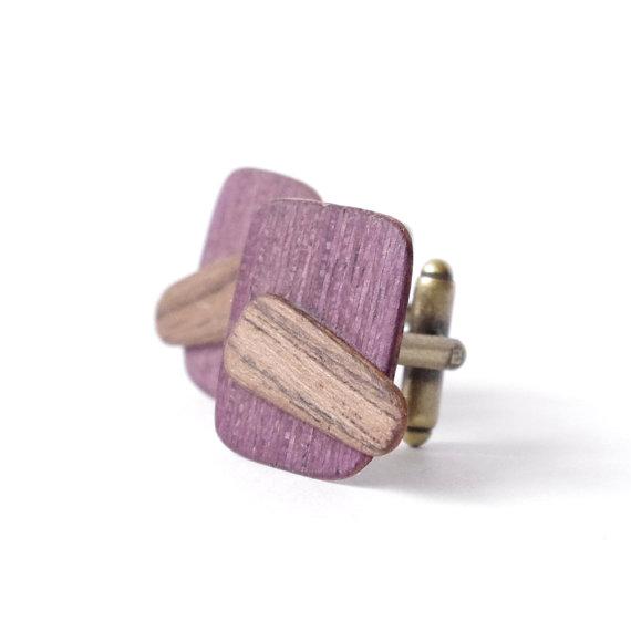 Wooden Cufflinks – Violet rectangles – Natural Wood Cuff Links for Men