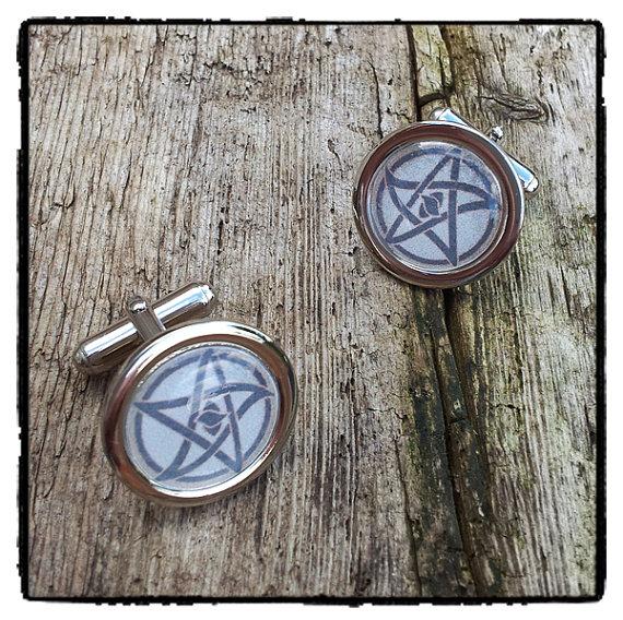 Elder Sign H P Lovecraft cthulhu hand made cufflinks – secret society men's jewellery – pentagram accessories – witchcraft cuff links