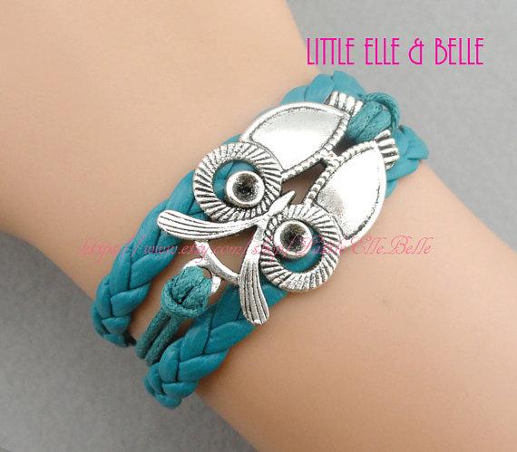 Owl Charm Bracelet, Love Owl Pendant Bracelet, Teal, Girls Bracelet