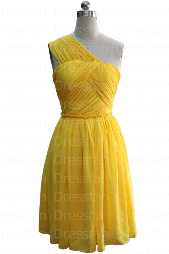 Bridesmaid dress/prom dress/yellow/one-shoulder/knee-length