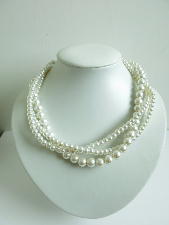 Ivory Glass Pearl 3 Strands Twisted Necklace, Wedding Jewelry, Bridal Jewelry, Bridesmaid Necklace