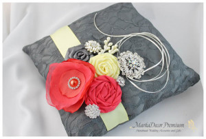 Wedding Ring Pillow with Lace Brooches Crystals Handmade Flowers in Dark Grey Gray ,