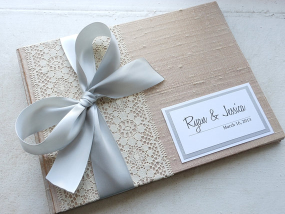 Champagne Wedding Guest Book You Choose Bow Color and Page Layout