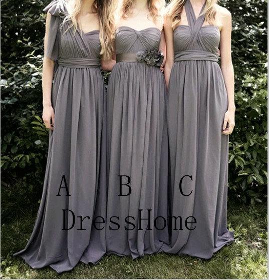 Bridesmaid Dress – Grey Bridesmaid Dress / Long Bridesmaid Dress / Halter Bridesmaid Dress / Grey Prom Dress
