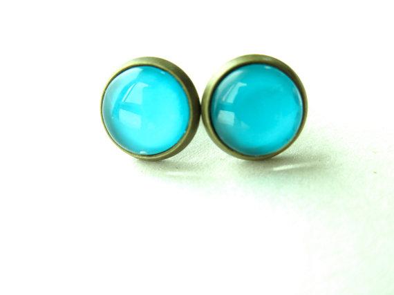 Aqua Blue Opal Stud Earrings, Blue Opal Stud Earrings, Wedding Earrings