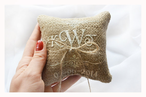 Embroidered Burlap Wedding ring pillow