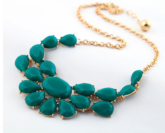 Green bubble necklace, Drop bib necklace,statement necklace,bridesmaid necklace,bubble statement necklace/wedding