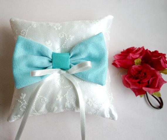 mint blue ribbon wedding ring pillow