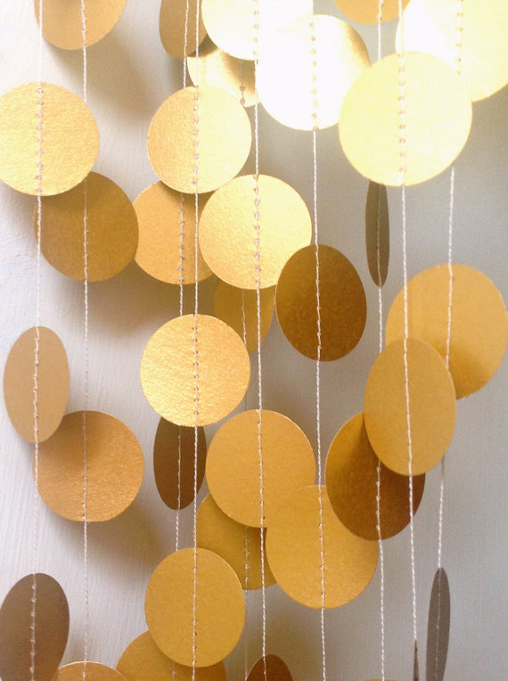 8 – 12 Feet – Gold Wedding Garland – Party Decoration – Home Decor -Gold- Silver-Ivory