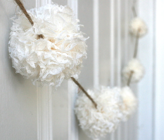 Wedding Garland – Baptism Decoration – Lace Pom Pom Garland – Medium Pom Pom – ivory, champagne or brown