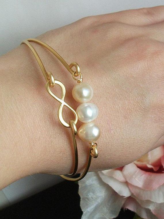 Infinity Bangle, Pearl Bangle, Gold Infinity, Set of two, Friendship bracelet