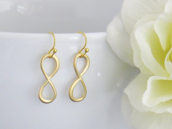 Gold Dangle Infinity Earrings – Infinity Charm Earrrings