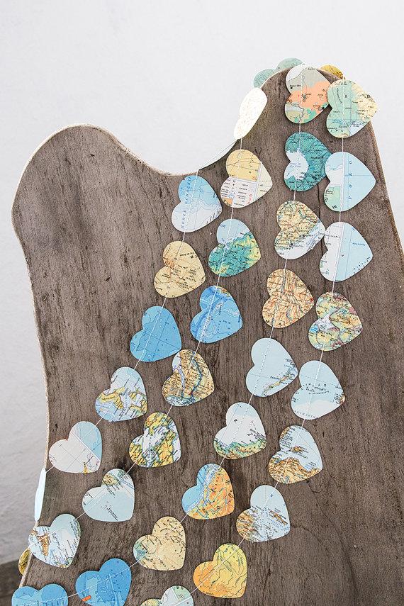 Paper garland bunting, wedding garland decor, heart garland, atlas map garland, party home decor, nursery banner