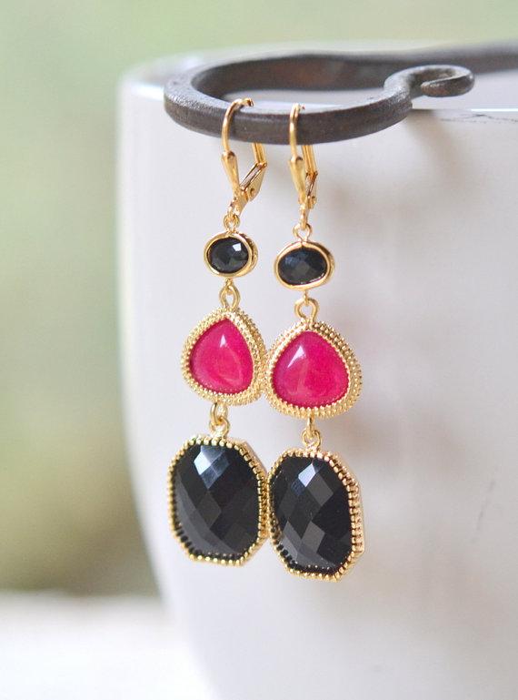 Long Jewel Earrings in Black and Fuchsia. Bridesmaid Earrings