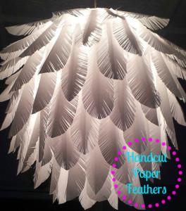 Feather – Elegant paper feather light shade – wedding lights, bedroom lighting, handmade lamp