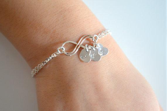 Personalized Infinity Bracelet, Sterling Silver Infinity Bracelet, Heart Initial Bracelet