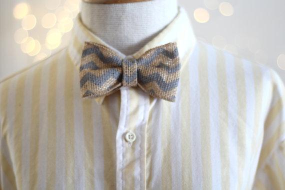 Bow Tie . Grey Chevron . Groom and Groomsmen Bow Ties . Brown Burlap Bow Tie