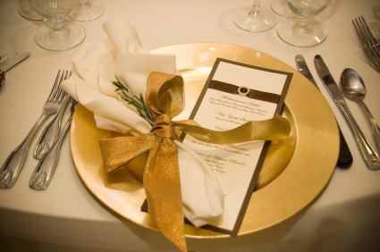 & Gold and brown wedding table setting