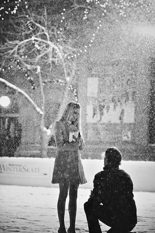 Proposal in ice rain