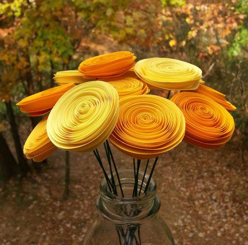Yellow Paper Flowers Handmade Paper