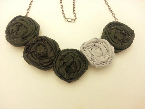 Gray and White Rosette Bib Necklace