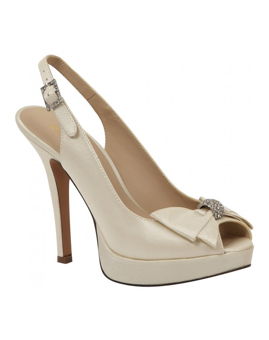"""""""Beautiful peep toe sling backs with a double layer bow and pave rhinestone accent at the toe. The 4″ heel is complimented with a 1/2"""" platform front and adjustable sling back strap fro a customized fit. Available in white and ivory.See how Brianna Leigh measures heel"""