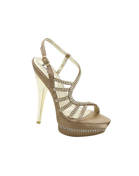 The Colorful Creations Donna in silver is a perfect high heeled platform evening sandal adorned with rhinestones on the straps and through the platform. Features shiny silver heel. Also available in black and taupe.