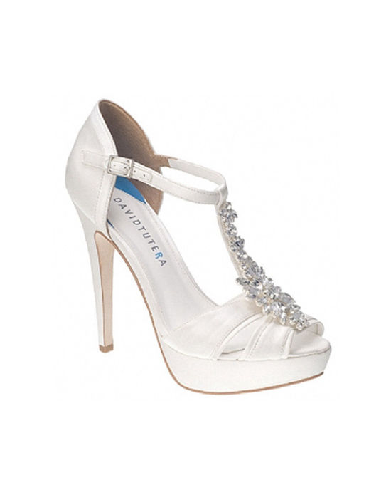 The David Tutera Jewel shoes are a work of bridal art. This T-strap platform sandal design features a gorgeous crystal cluster accent along the vamp, lightly cushion foot bed and satin materials.
