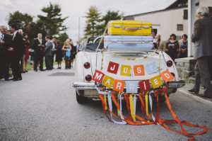 Loved the getaway car banner designed by the couple