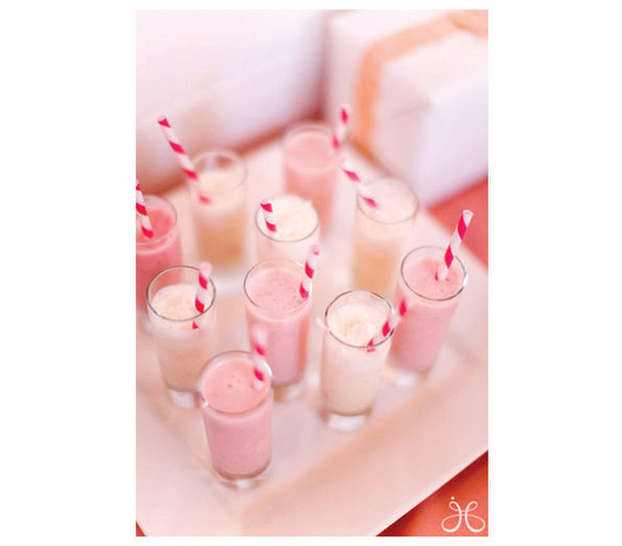 Milkshakes Miniature milkshakes donned with decorative straws look just as good as they taste.