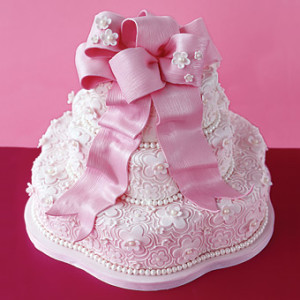 Pink Flower Lace Wedding Cake