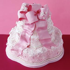 Pink Flower Lace Wedding Cake