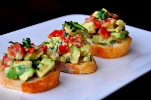 guacamole bruschetta. Wedding cocktail party appetizer ideas