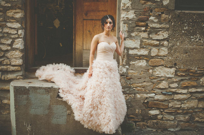 Samia's pink ruffled Watters gown