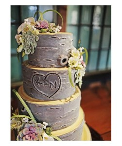 """Into the Woods To capture a hint of nostalgia, """"carve"""" the couple's initials into one of the layers of this decadent dessert."""