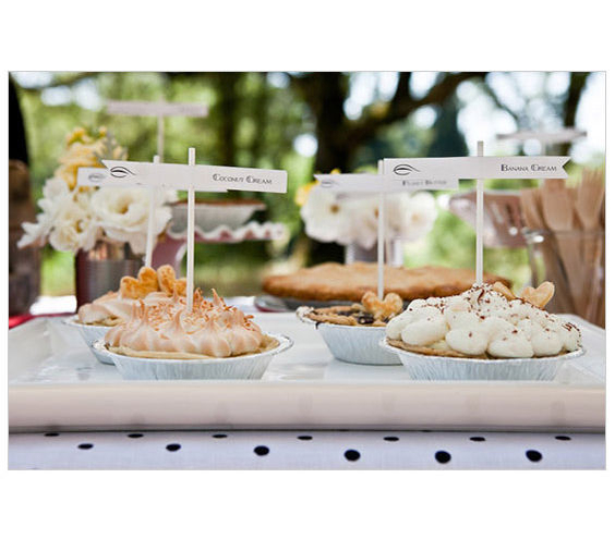 Pie Bar If you're envisioning a less formal affair, then trade a tiered cake for an array of pies. From apple to chocolate cream, there's sure to be something to please everyone with this crowd-pleasing idea.