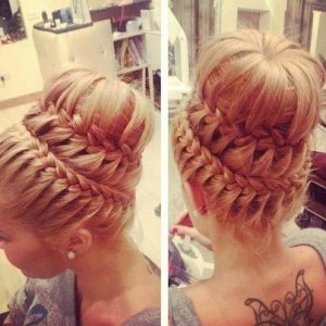 Breathtaking Double Braided Sock Bun Updo Wedding Hairstyle